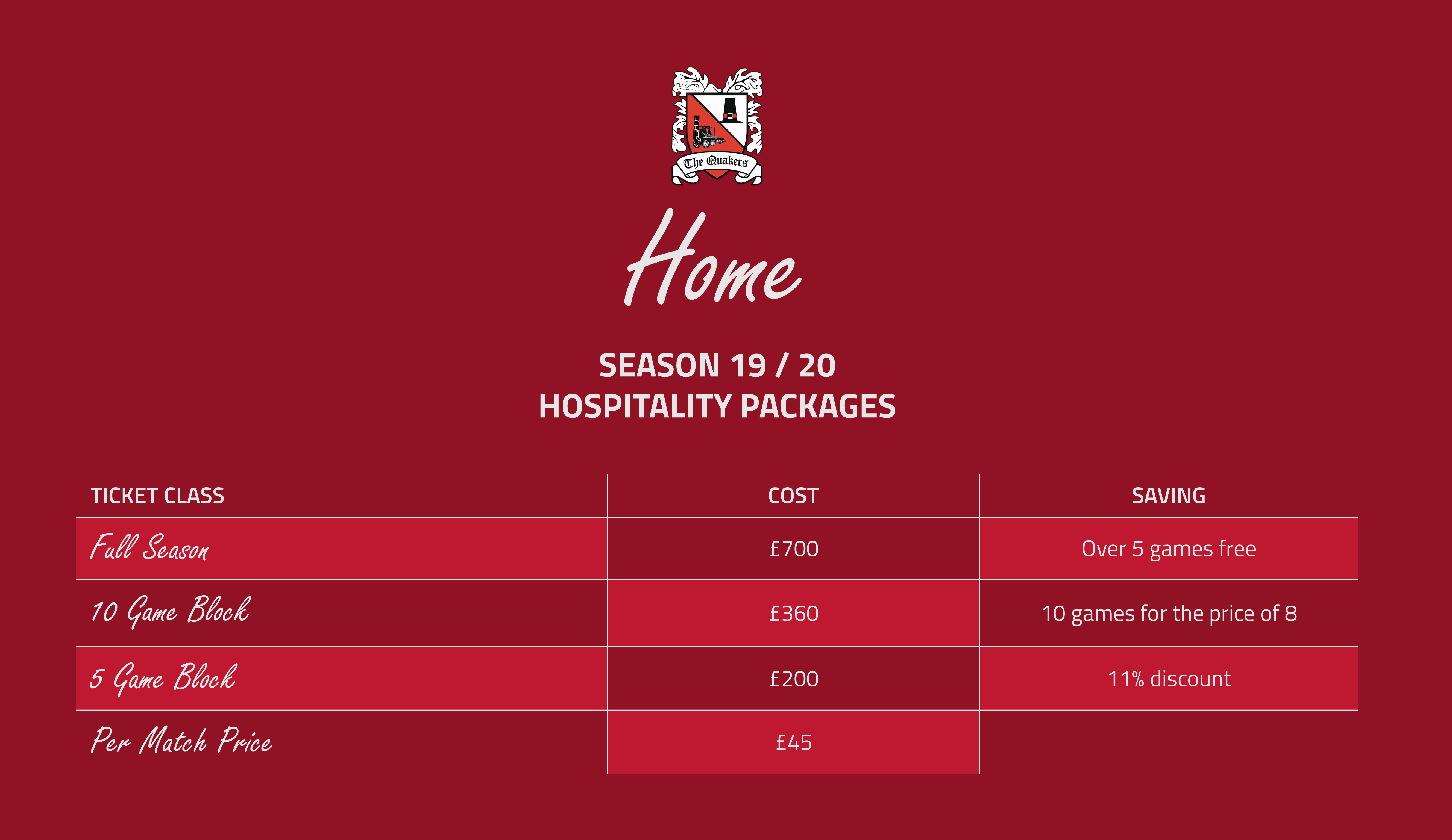 Hospitality Prices Season 19/20