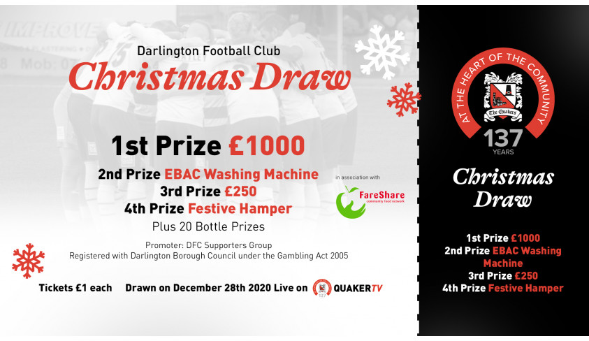 Win £1000 and other prizes in the Darlington FC Christmas Draw!