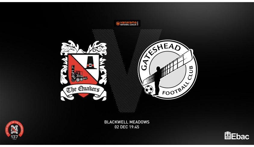 Gateshead home game moved back by a day