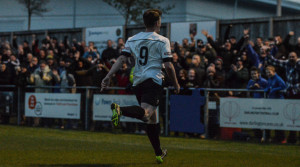 Graeme Armstrong celebrates after scoring the first goal