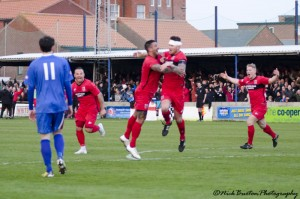 Kevin Burgess celebrates after scoring v Whitby