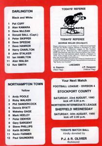memory match prog back Darlo v Northampton 1980