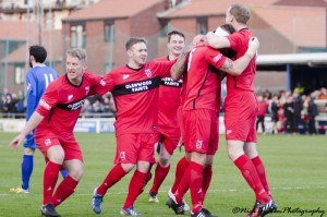 player congratulate Kevin Burgess after scoring v Whitby