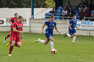 Lee Gaskell in action against Darlo last Saturday (pic thanks to Ramsbottom FC)