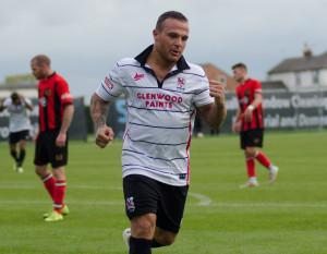 Stephen Thompson celebrates his goal