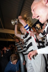 Heritage Park, Bishop Auckland  -  Northern League Div 1:  Darlington v Guisborough.  The players lift the trophy - Capt Gary Brown with cup. Pic: Chris Booth       01/05/13