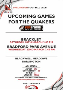 10th march poster for matches v Brackley and Bradford