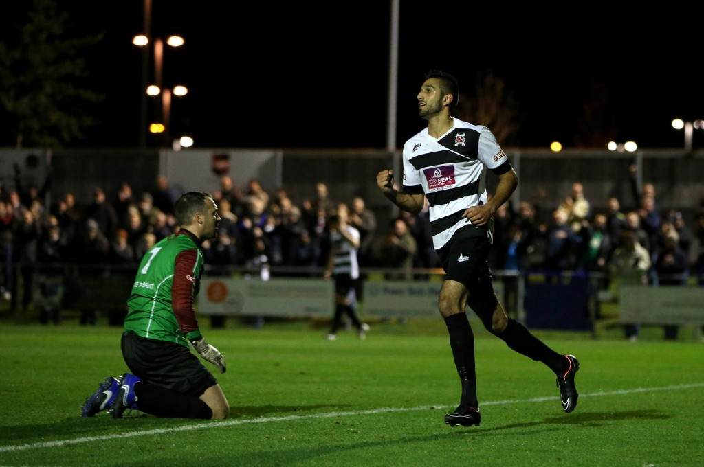 Evo Stik league match between Darlington 1883 and Ossett Albion at Heritage Park, Bishop Auckland.  Darlington celebrate after Amar Purewal  scores late in the first half.  Picture: CHRIS BOOTH