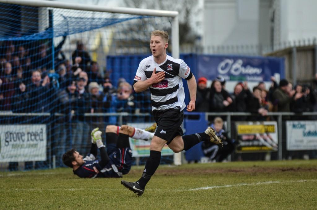 Tom Portas celebrates after scoring against Bamber Bridge