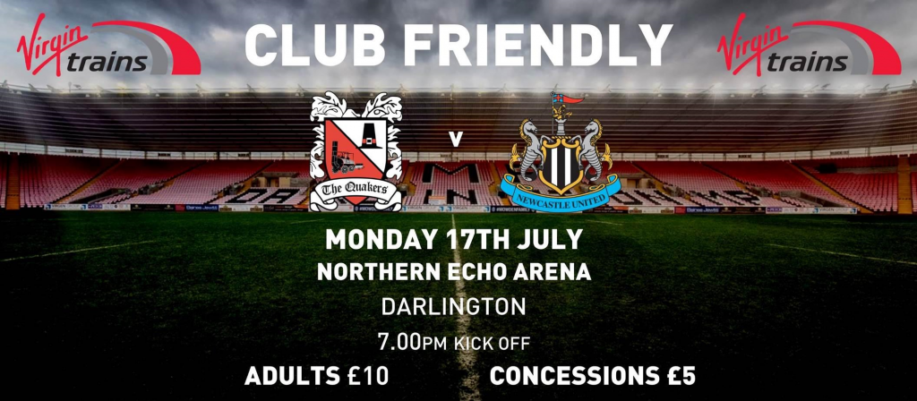 10th July Darlo v Newcastle poster