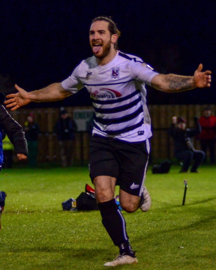 Reece Styche celebrates after scoring v Harrogate in Trophy