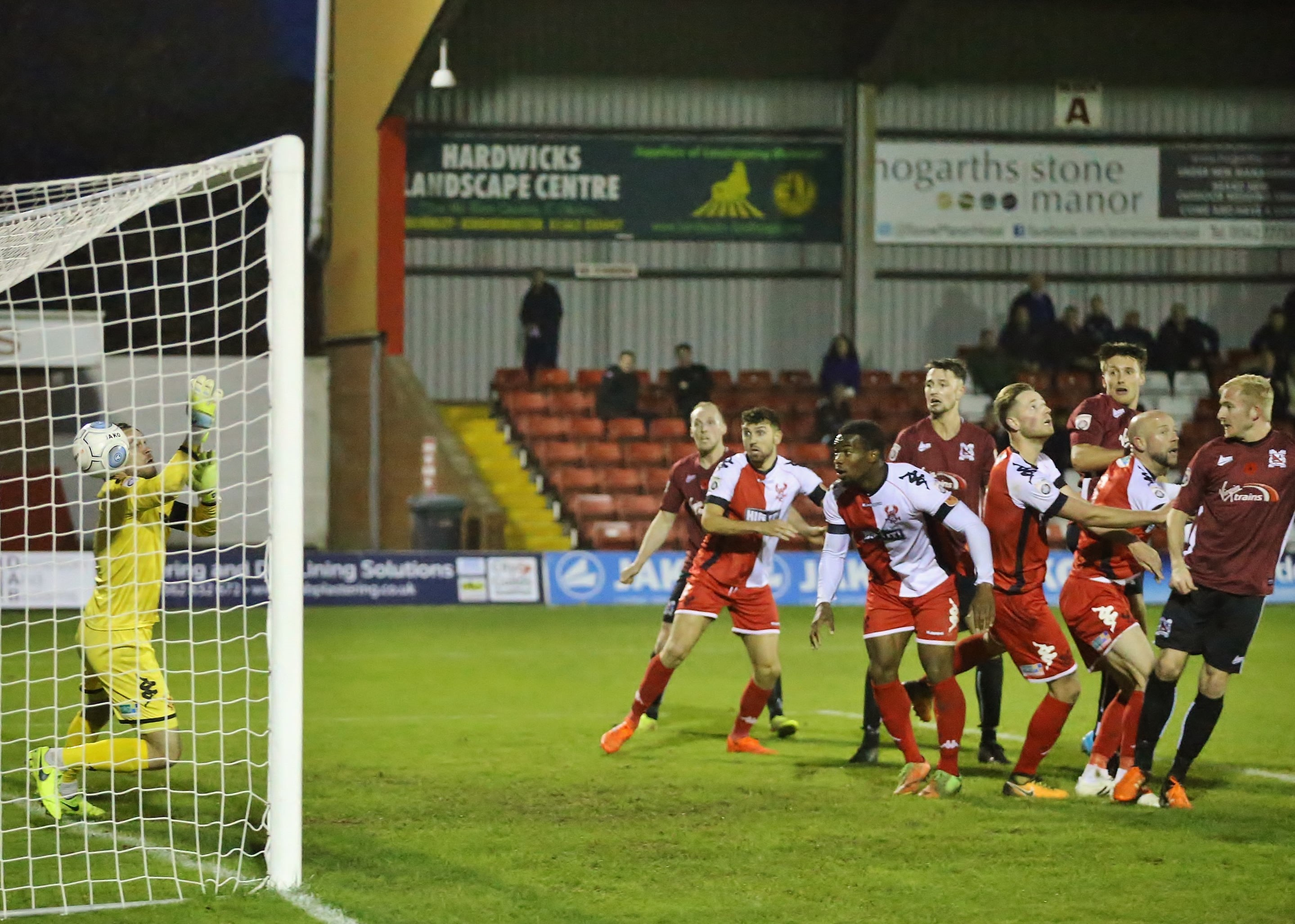 Harvey Saunders scores the equalising goal for Darlington during the Vanarama National League North match between Kidderminster Harriers and Darlington on 11/11/2017. - Credit: Will Kilpatrick Photography