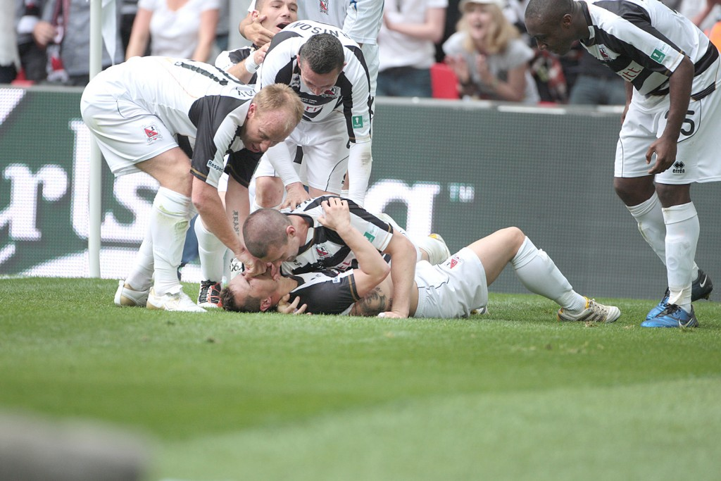 Darlington's Chris Senior after scoring the winner Pic supplied by Les Hodge please byline