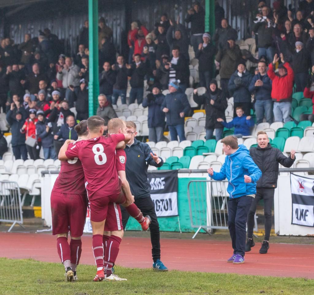 David Syers celebrates after scoring at Bradford PA 2