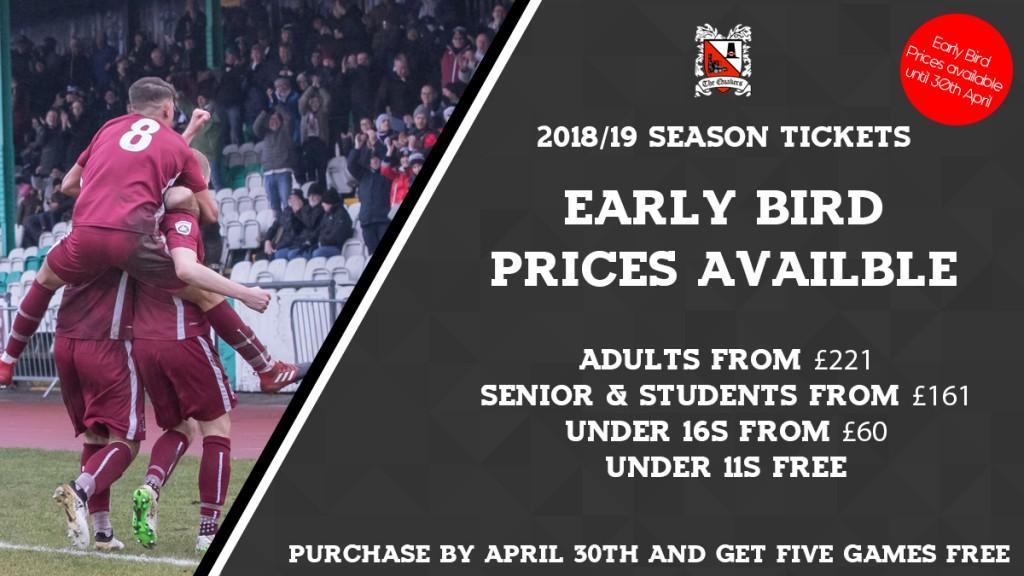 Early Bird Season Ticket Prices