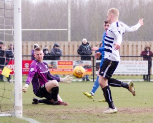 David Syers scores the first goal v North Ferriby