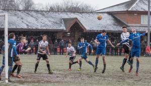 Terry Galbraith heads towards goal