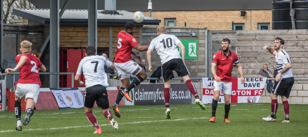Josh Gillies about to score against FC United