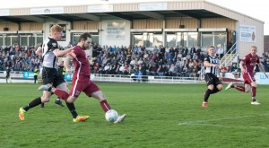 Reece  Styche shoots and scores at Spennymoor