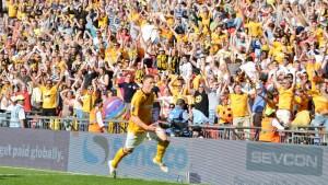 16th May Liam Hughes celebrating his goal v Gateshead