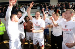 Leon celebrates the Northern League title win