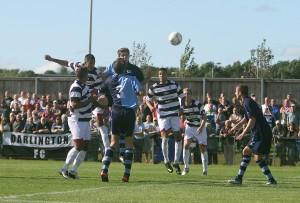 Arjun Purewal scores Quakers' first goal (pic by Les Hodge)