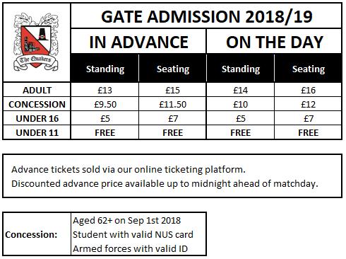 Gate Admission prices 2018-19