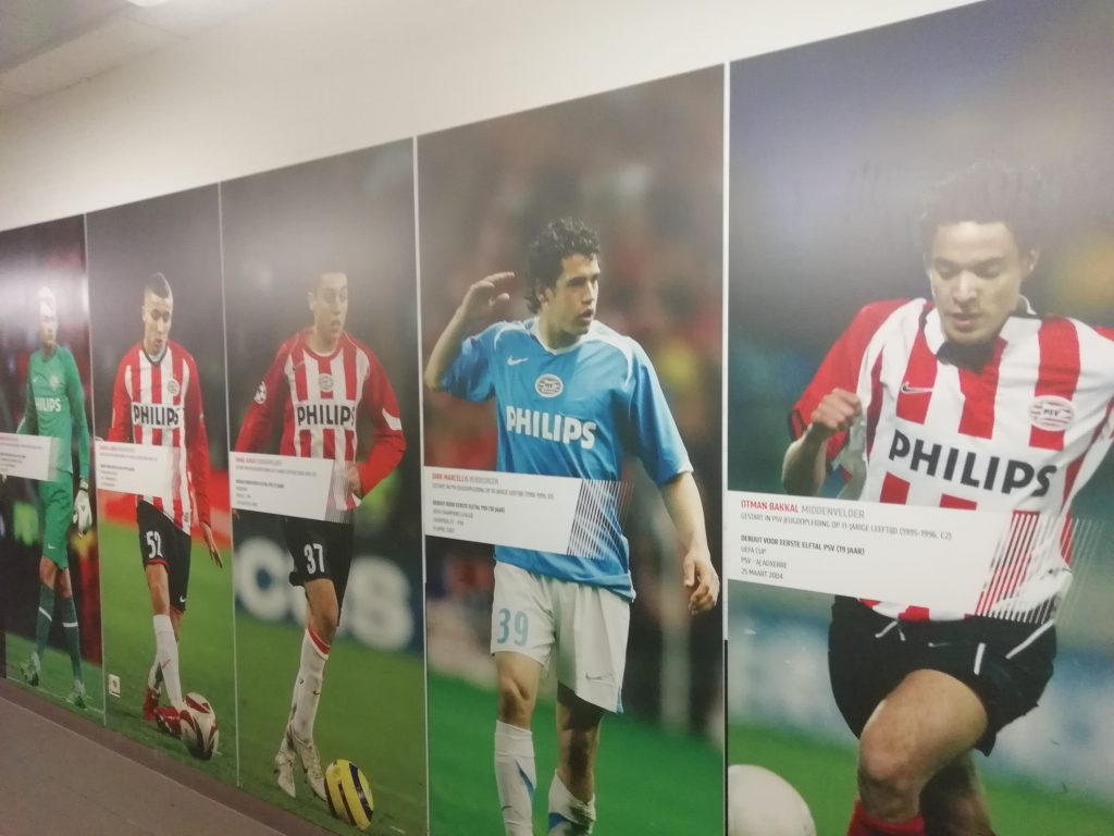 Images of famous PSV Eindhoven players adorn the corridors of De Herdgang