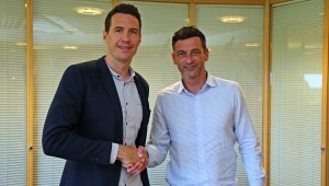 Jon McLaughlin with manager Jack Ross