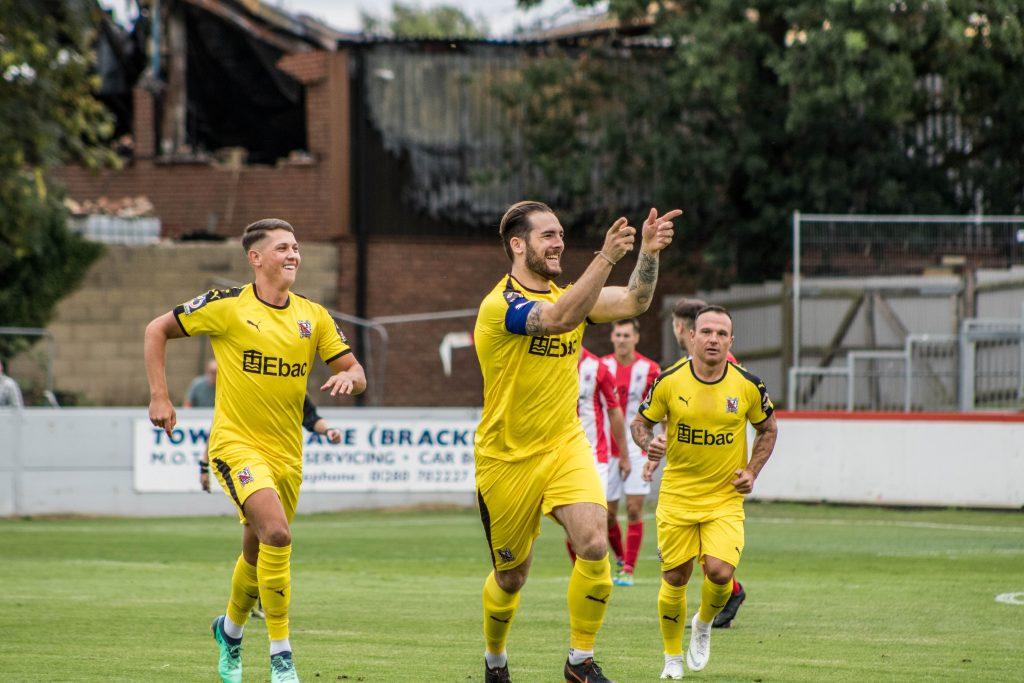 Reece Styche celebrates at Brackley